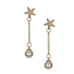 18k Gold Plated Sparkle Star Pearl Drop Earrings